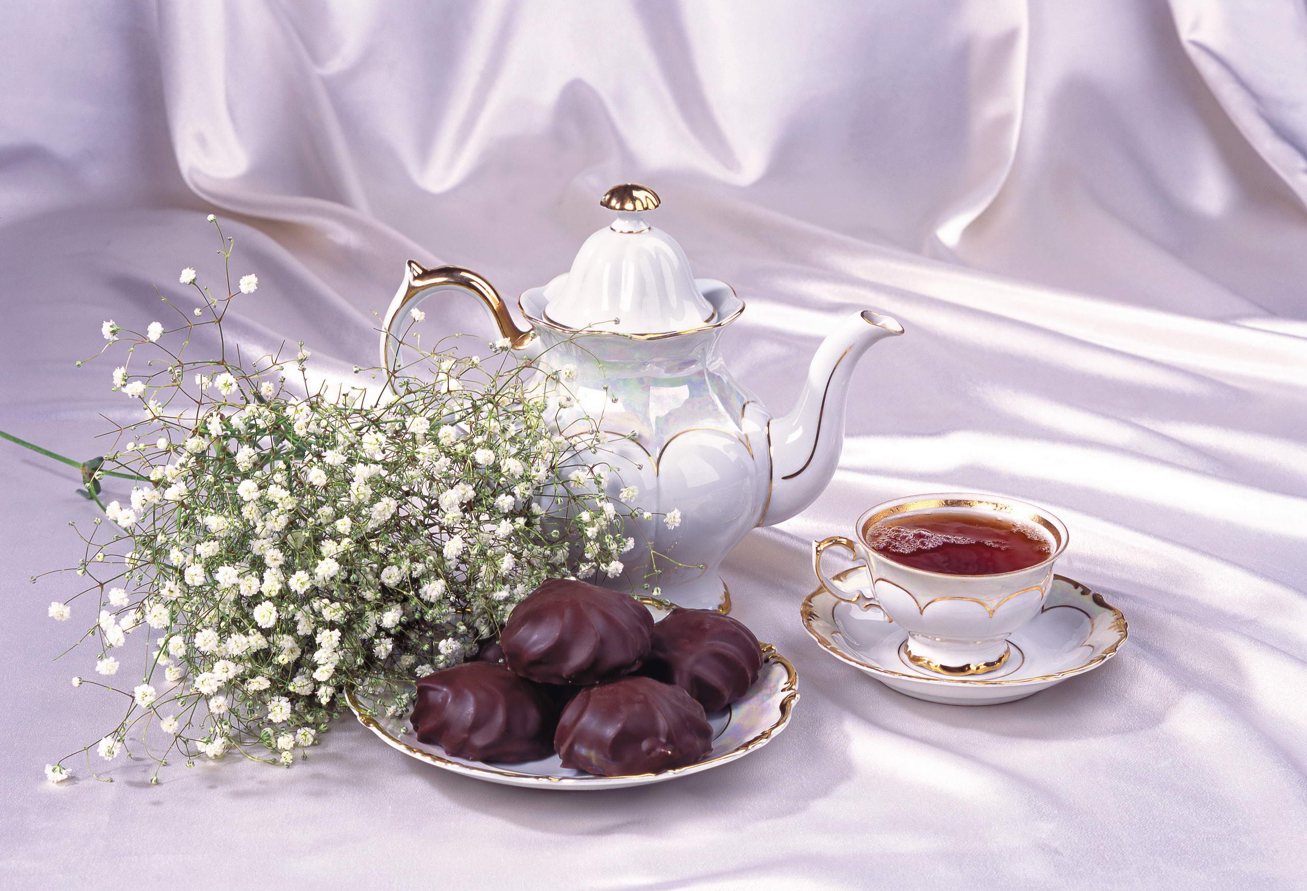 Обои цветы, натюрморт, сервиз, тарелка, стол. Разное foto 10