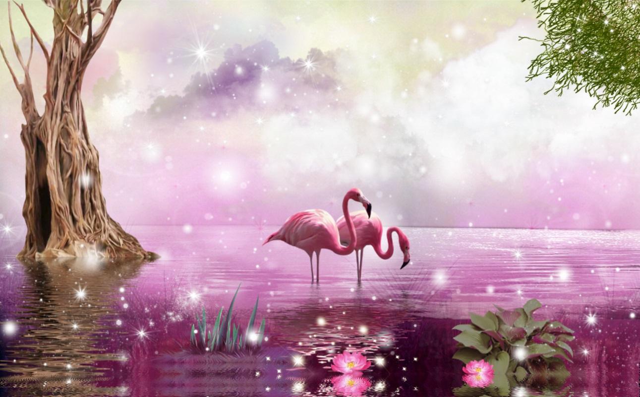 Обои на телефон красивые анимированные фламинго
