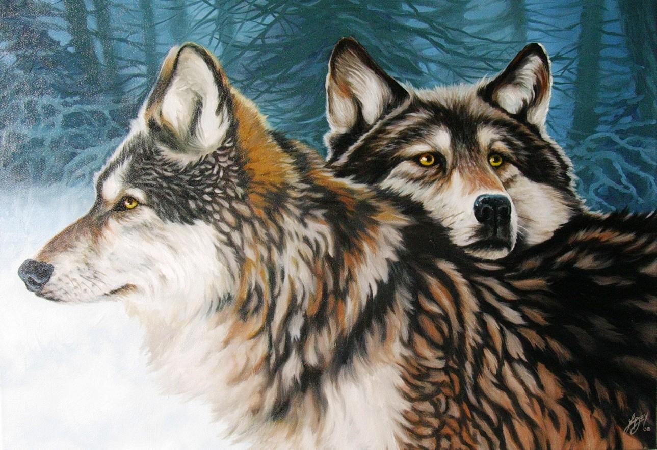 Нарисованные волки своими руками