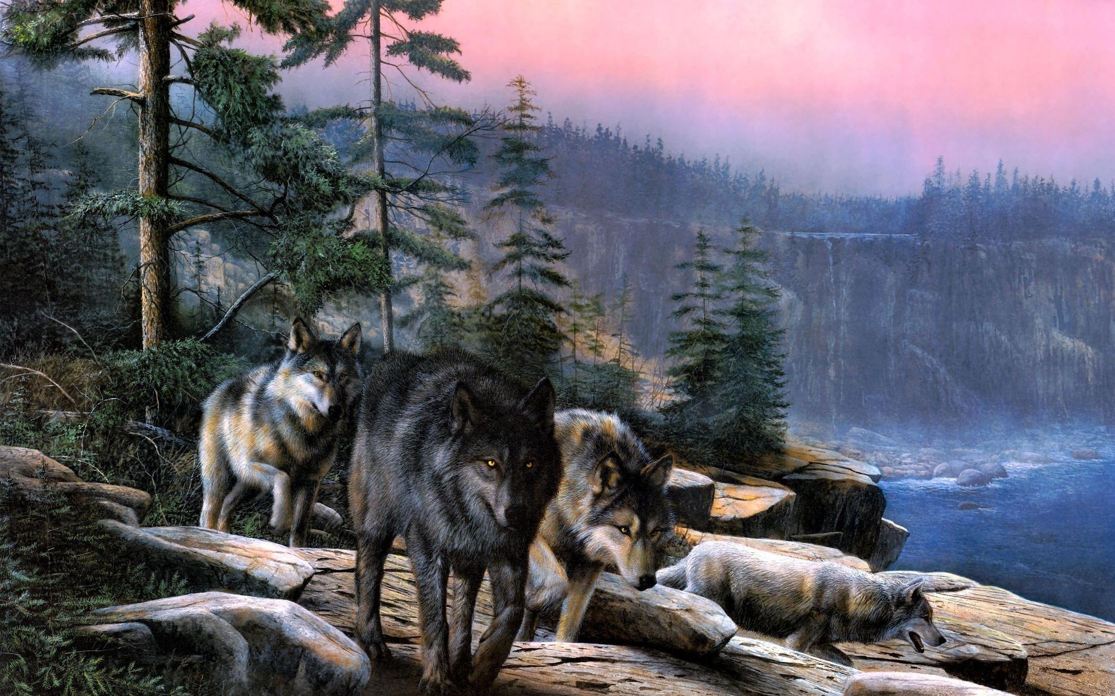 рисованные обои для рабочего стола волки № 138324 бесплатно