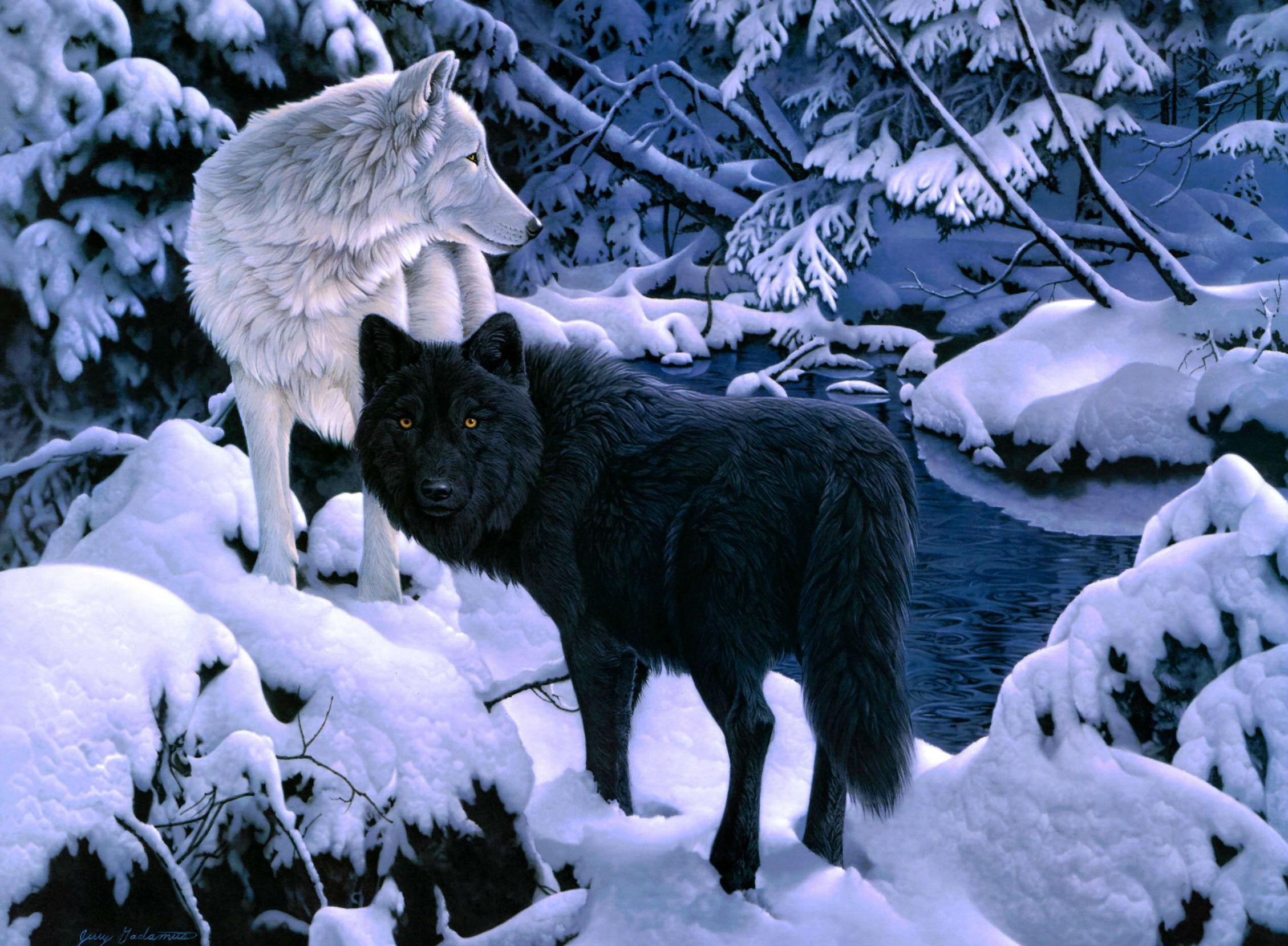 Волки рисованные 2 (60 обоев) » Смотри Красивые Обои, Wallpapers ...