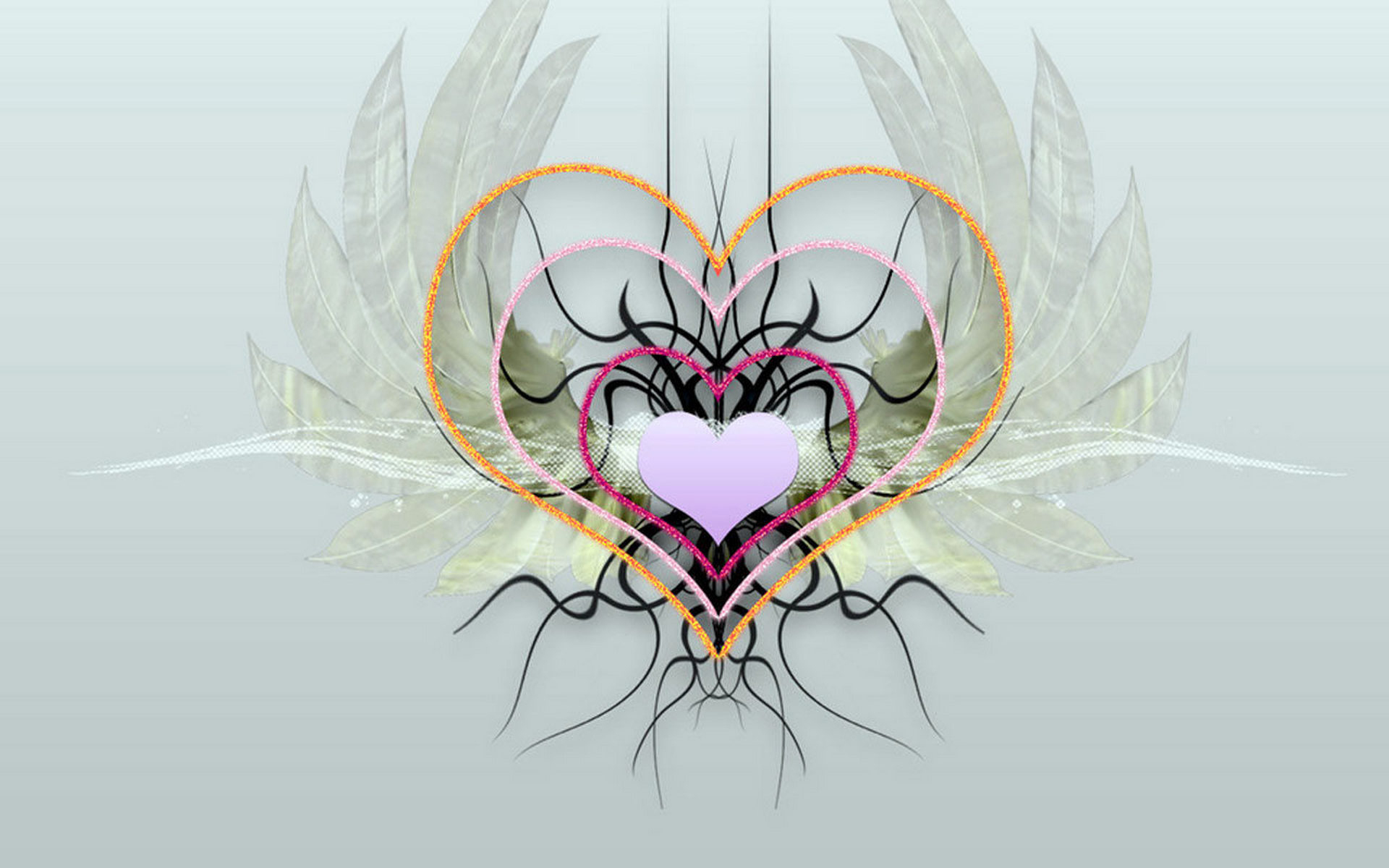 Love heart with wings wallpaper