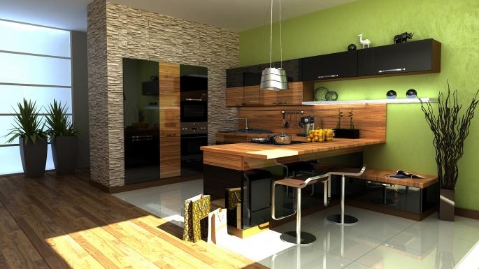 Интерьер. Дизайн кухни и столовой (50 обоев)