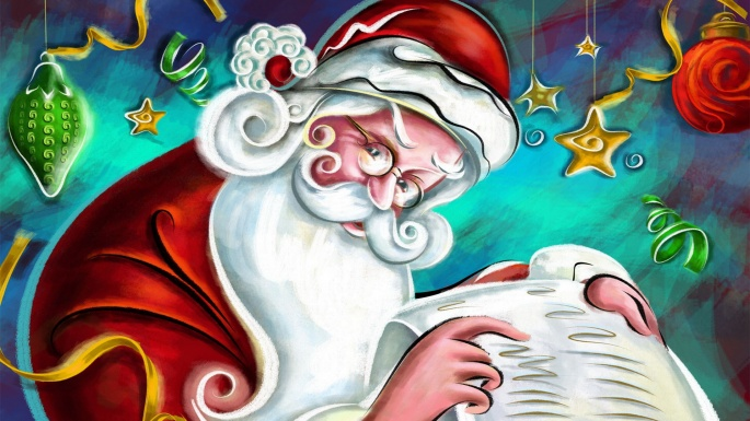 Праздники. Новый год. Здравствуй, Дедушка Мороз, борода из ваты (60 обоев)