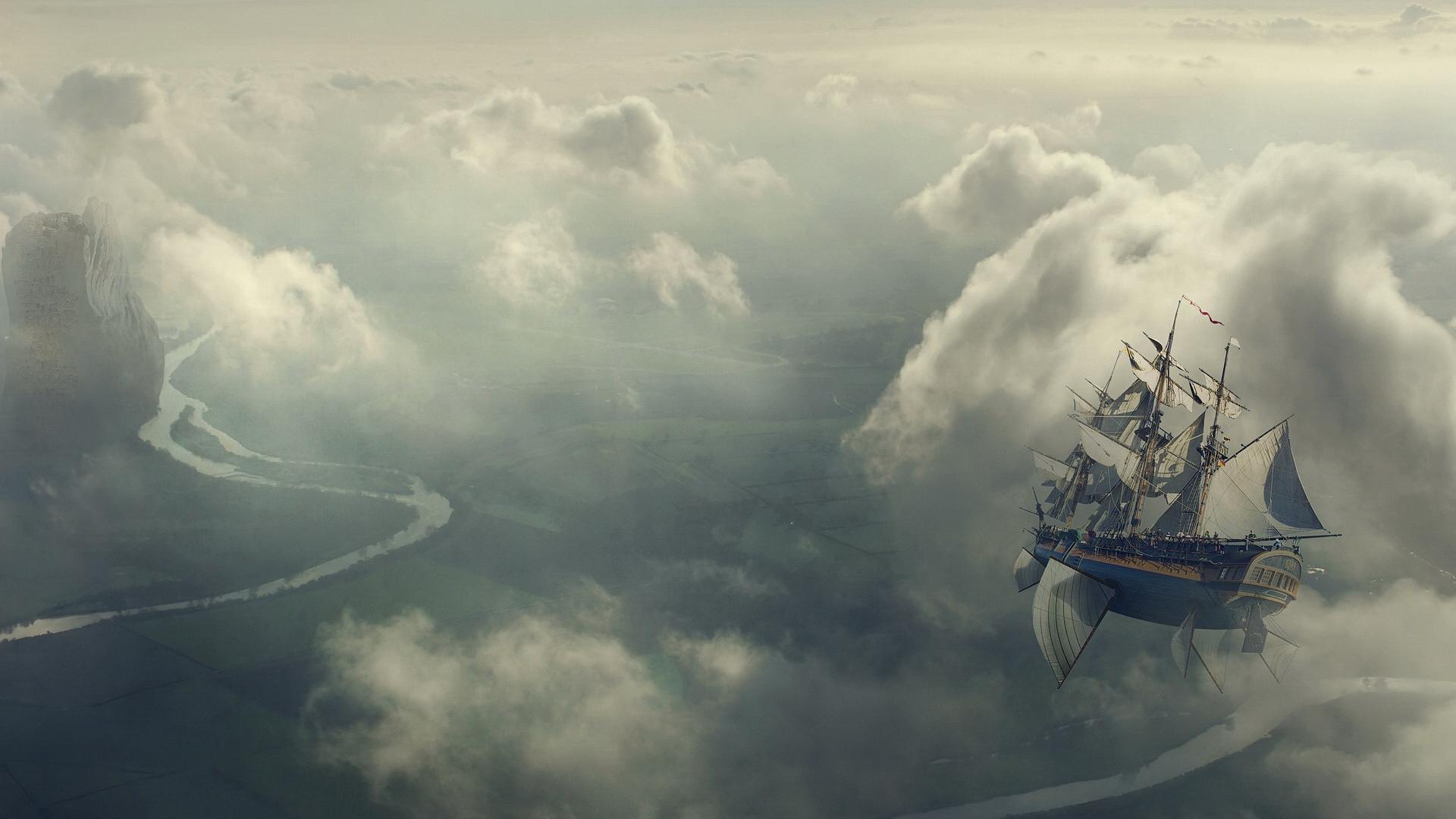 этой картинки фэнтези небо и корабль сытости добавляю вареную