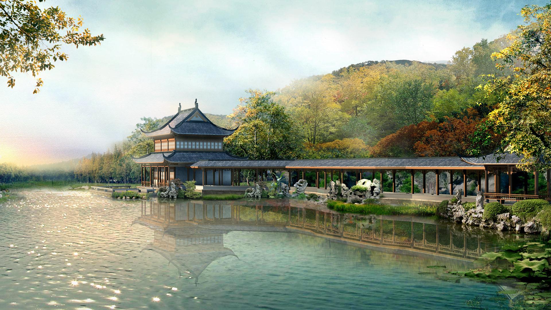 китайский пейзаж обои на рабочий стол № 501956  скачать
