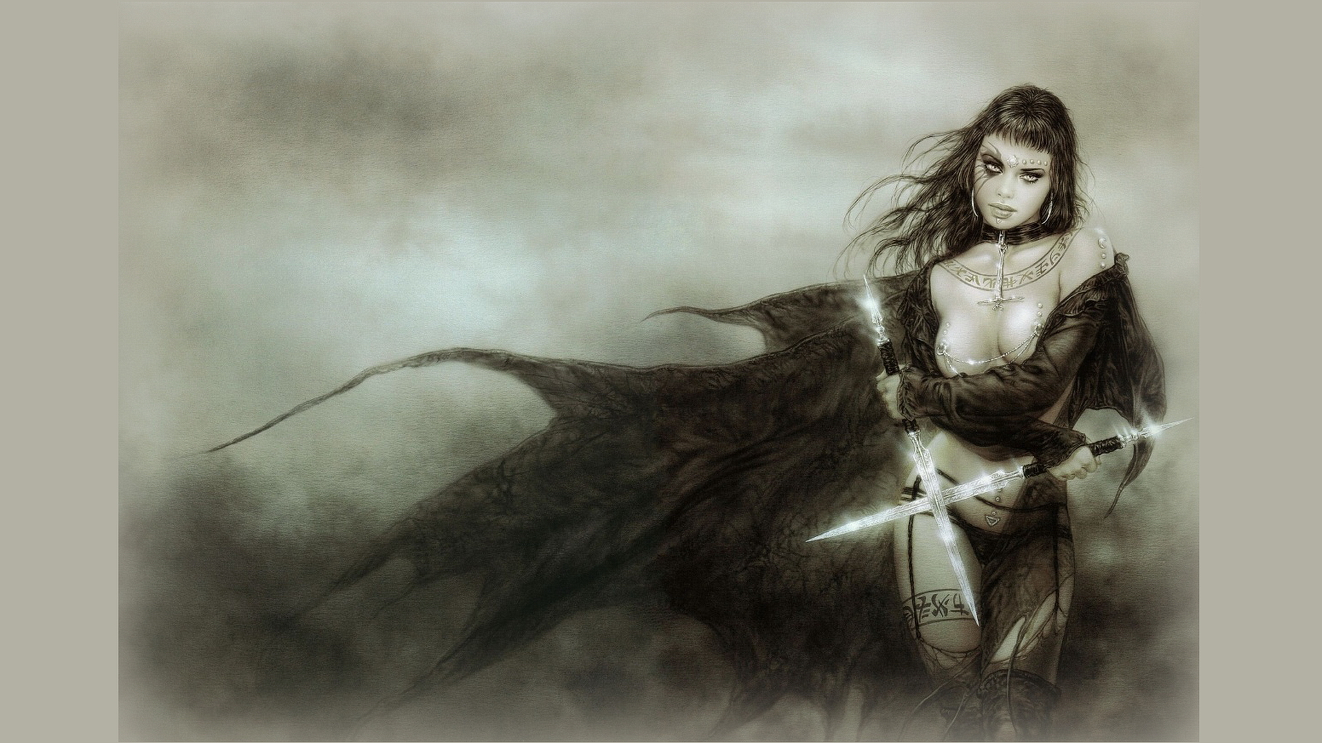 Gothic warrior women cartoon photo