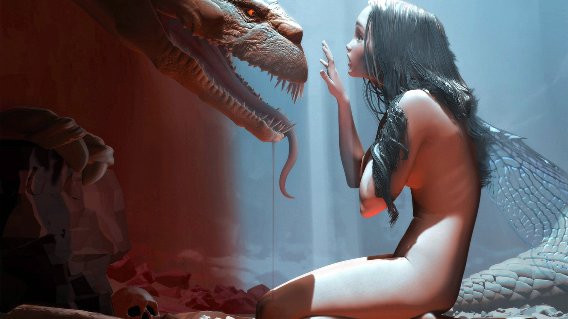 Monster naked girls wallpaper porn scene