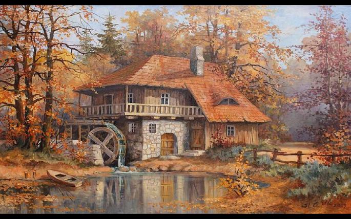 Водяная мельница. Watermill (39 обоев)
