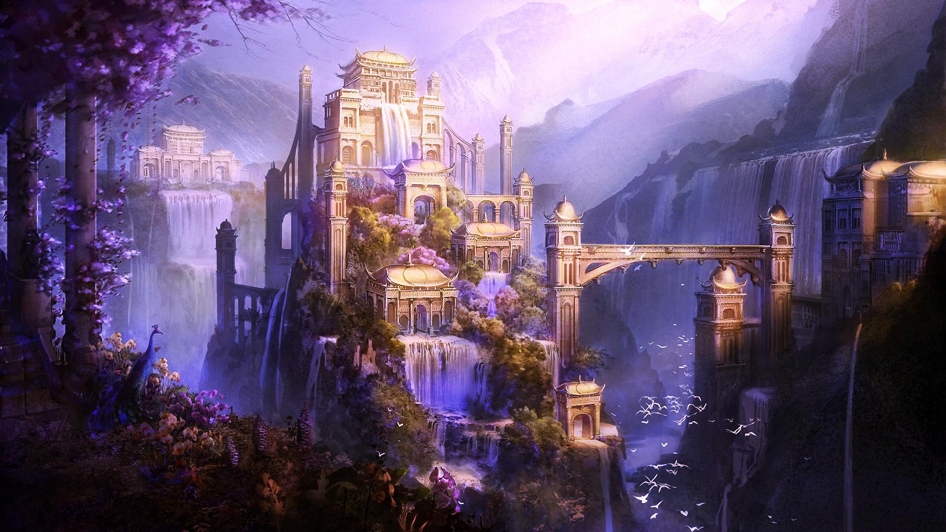 Magical castle wallpaper