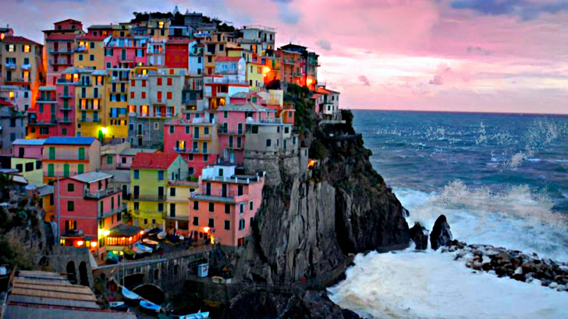 Обои дома, скалы, Пейзаж, Manarola, italy, побережье. Города