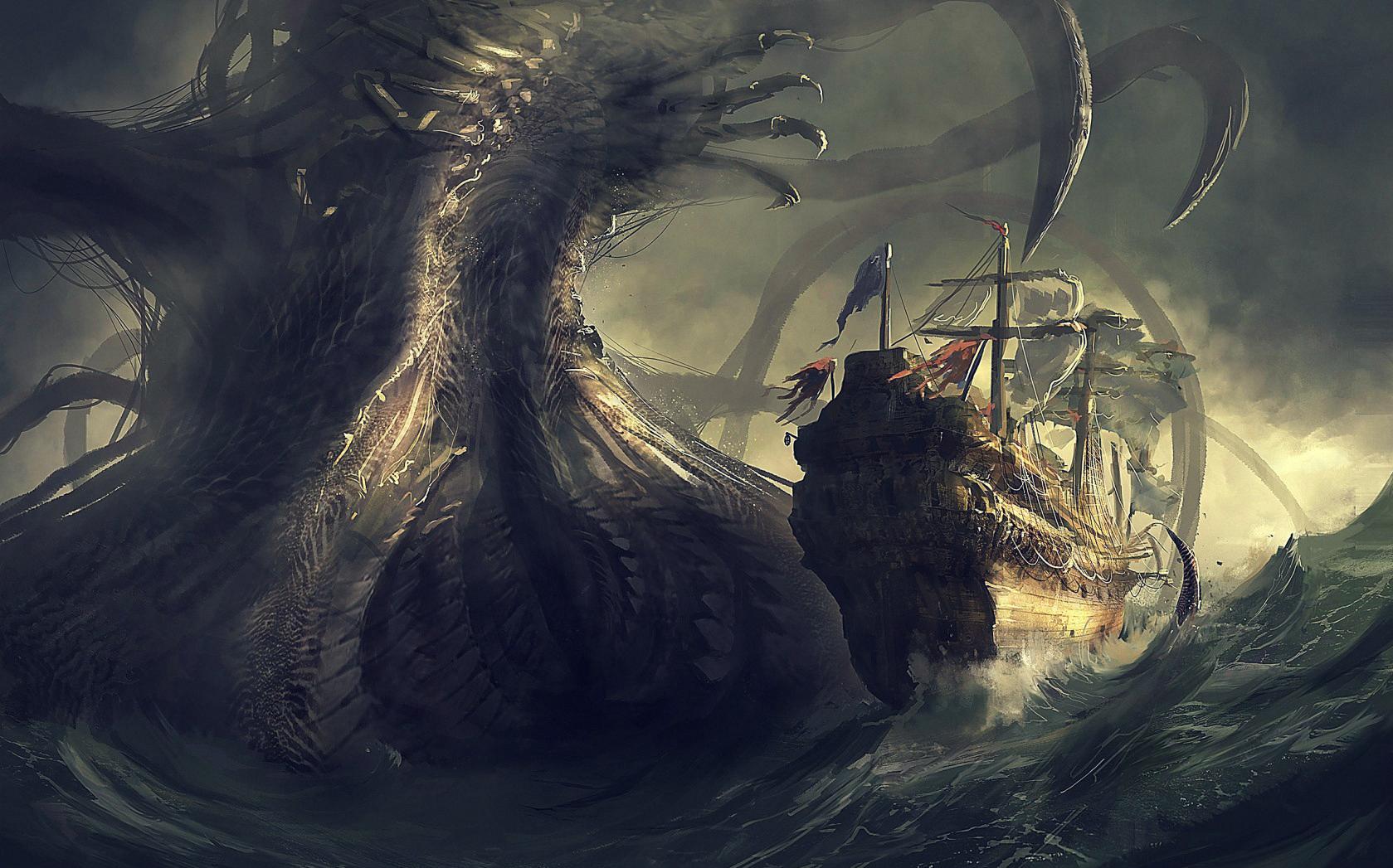 Обои для рабочего стола морские чудовища